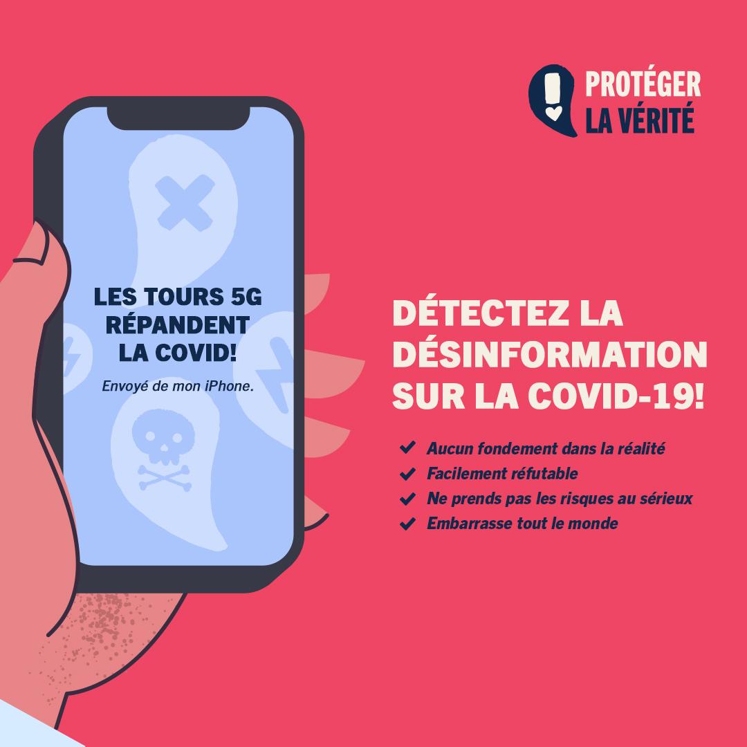 Détectez la désinformation sur la COVID-19! La théorie des crackpots « Les tours 5G répandent la COVID! Envoyé de mon iPhone. » - Aucun fondement dans la réalité - Facilement réfutable - Ne prends pas les risques au sérieux - Embarrasse tout le monde